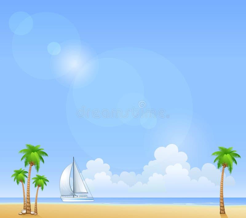 Απεικόνιση της θερινών παραλίας και του γιοτ ελεύθερη απεικόνιση δικαιώματος