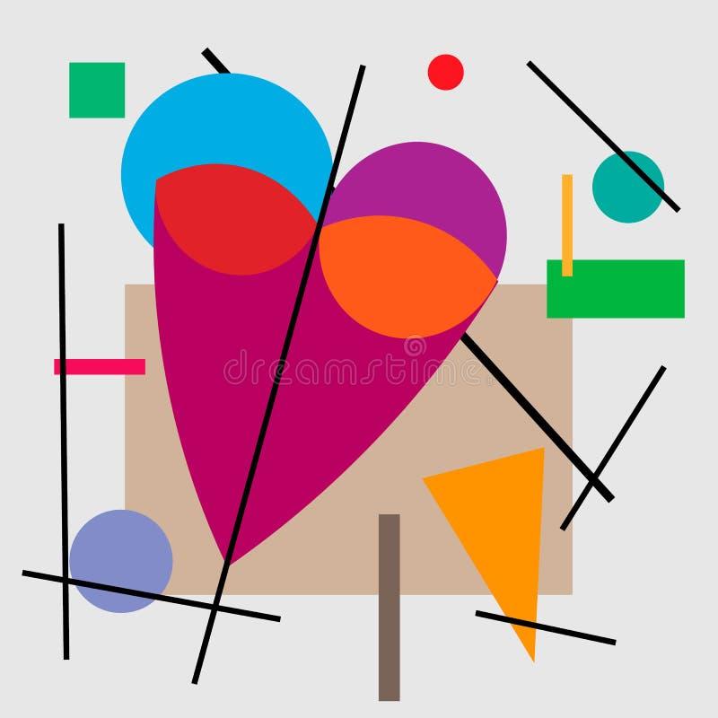 Απεικόνιση της καρδιάς, βαλεντίνος Γεωμετρική απεικόνιση της καρδιάς του κυβισμού Supermatism ελεύθερη απεικόνιση δικαιώματος