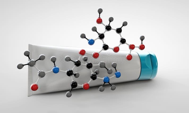 Απεικόνιση της κρέμας με το hyaluronic όξινο μόριο στο γκρίζο backround στοκ εικόνα με δικαίωμα ελεύθερης χρήσης