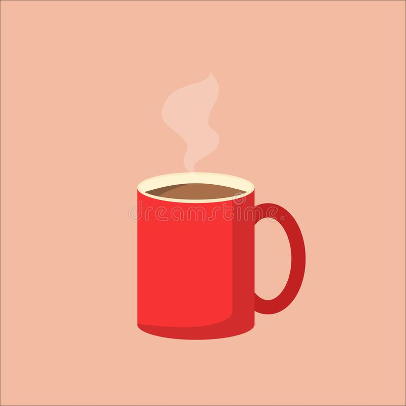 Απεικόνιση της κόκκινης κούπας καφέ με τον ατμό Διανυσματική εικόνα του φλυτζανιού καφέ EPS10 συμβατό σύστημα ελεύθερη απεικόνιση δικαιώματος