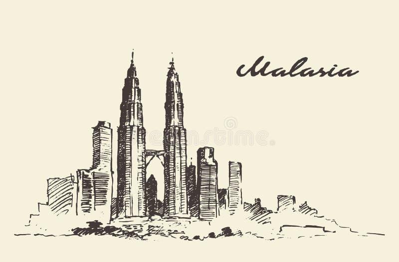 Απεικόνιση της Μαλαισίας οριζόντων της Κουάλα Λουμπούρ που σύρεται διανυσματική απεικόνιση