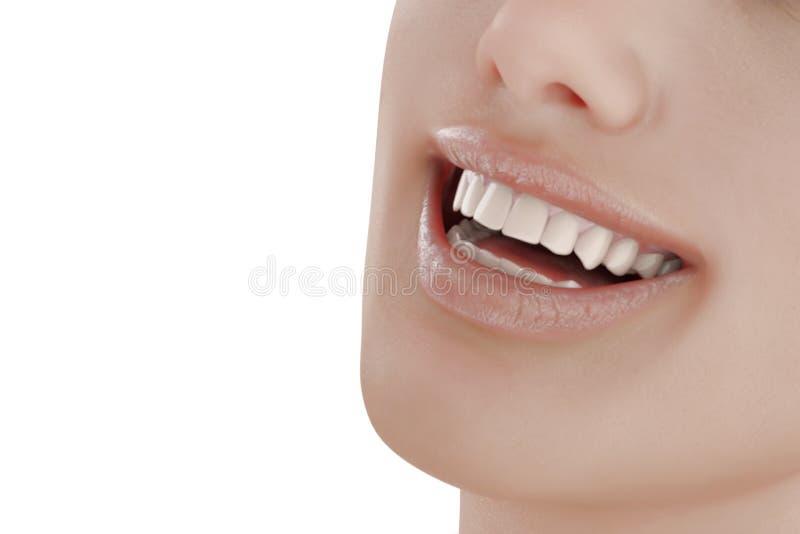 Απεικόνιση της οδοντικής προσοχής τέλεια δόντια Κινηματογράφηση σε πρώτο πλάνο του όμορφου και υγιούς χαμόγελου γυναικών ελεύθερη απεικόνιση δικαιώματος