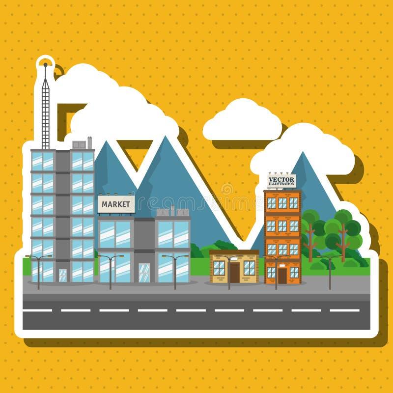Απεικόνιση της πόλης φύσης, του διανυσματικού σχεδίου, του κτηρίου και της ακίνητης περιουσίας σχετικών απεικόνιση αποθεμάτων