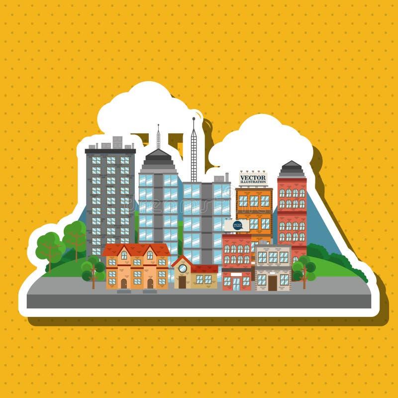 Απεικόνιση της πόλης φύσης, του διανυσματικού σχεδίου, του κτηρίου και της ακίνητης περιουσίας σχετικών ελεύθερη απεικόνιση δικαιώματος