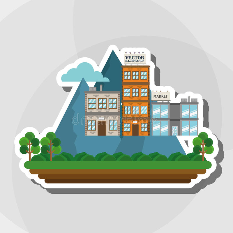 Απεικόνιση της πόλης φύσης, του διανυσματικού σχεδίου, του κτηρίου και της ακίνητης περιουσίας σχετικών διανυσματική απεικόνιση
