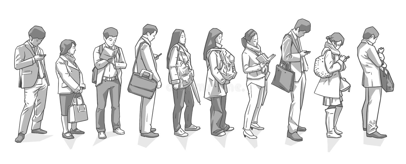 Απεικόνιση της στάσης ανθρώπων που περιμένει στη γραμμή δημόσιων συγκοινωνιών αγορών εγγραφής απεικόνιση αποθεμάτων