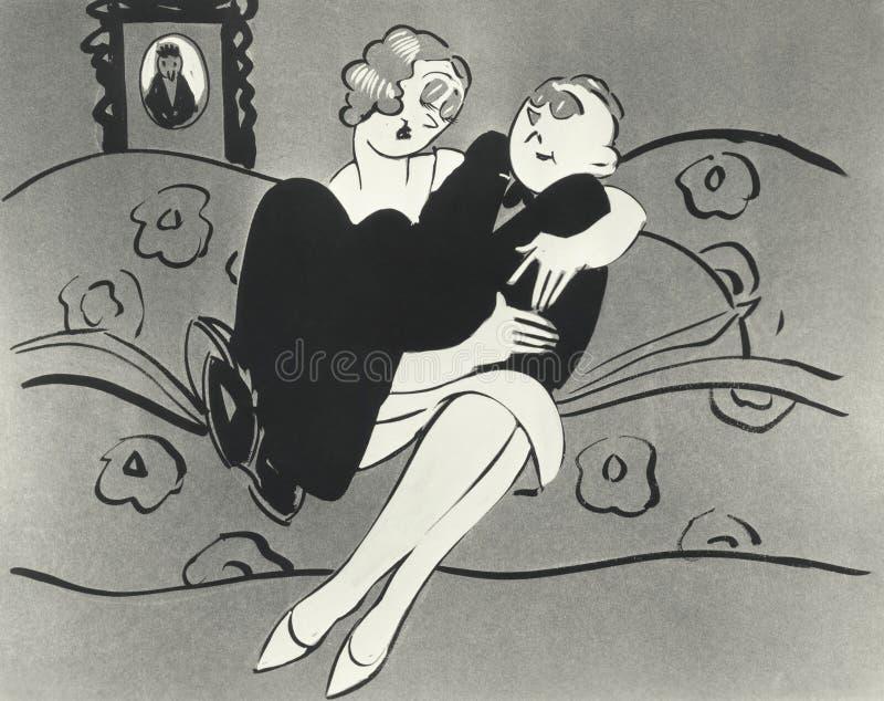 Απεικόνιση της συνεδρίασης ανδρών στην περιτύλιξη της γυναίκας στοκ φωτογραφία με δικαίωμα ελεύθερης χρήσης