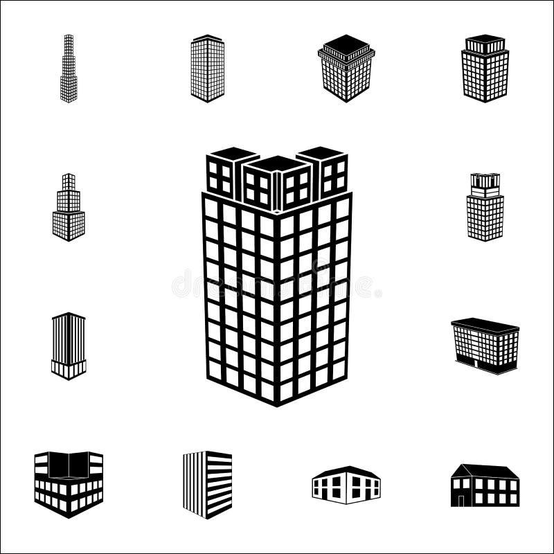 απεικόνιση της τοπ άποψης του τρισδιάστατου εικονιδίου οικοδόμησης τρισδιάστατο καθολικό εικονιδίων οικοδόμησης που τίθεται για τ ελεύθερη απεικόνιση δικαιώματος