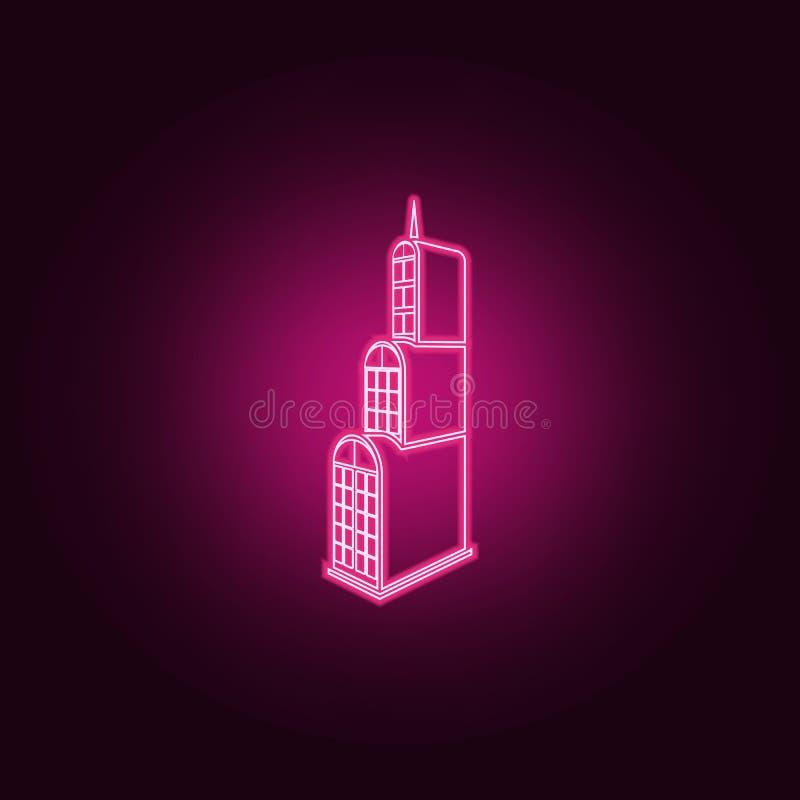 απεικόνιση της τρισδιάστατης οικοδόμησης του εικονιδίου ξενοδοχείων Στοιχεία του τρισδιάστατου κτηρίου στα εικονίδια ύφους νέου Α διανυσματική απεικόνιση