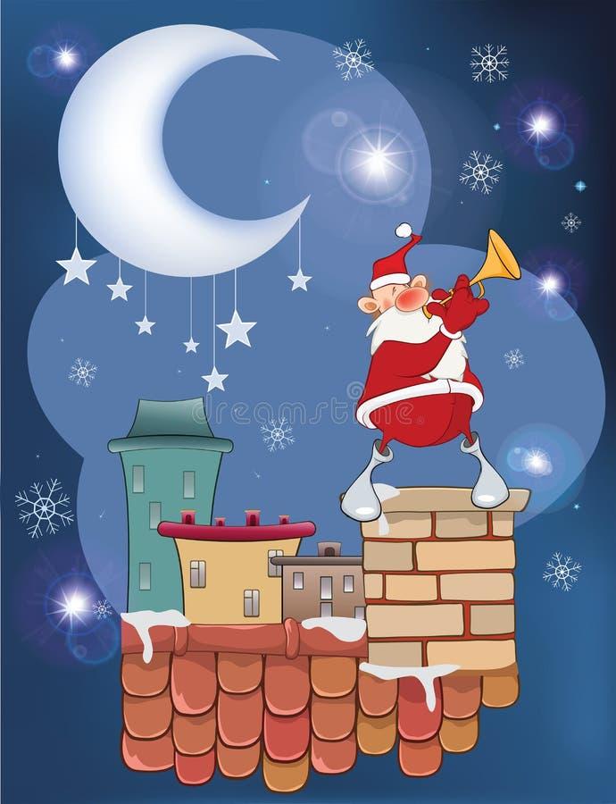 Απεικόνιση της χαριτωμένης σάλπιγγας Άγιου Βασίλη Jazz στη στέγη διανυσματική απεικόνιση