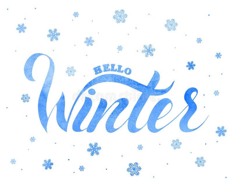 Απεικόνιση της χειμερινά εγγραφής και snowflakes μέσα στοκ εικόνα