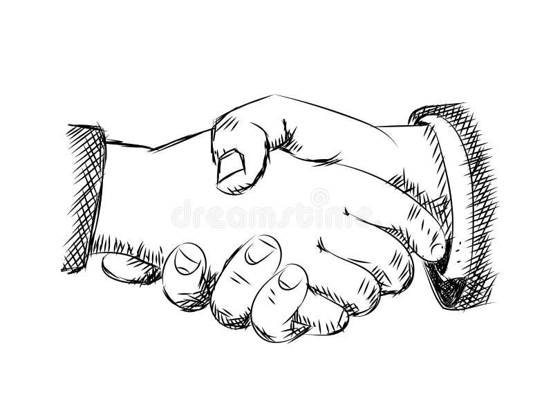 Απεικόνιση της χειραψίας - διανυσματικό σκίτσο ελεύθερη απεικόνιση δικαιώματος