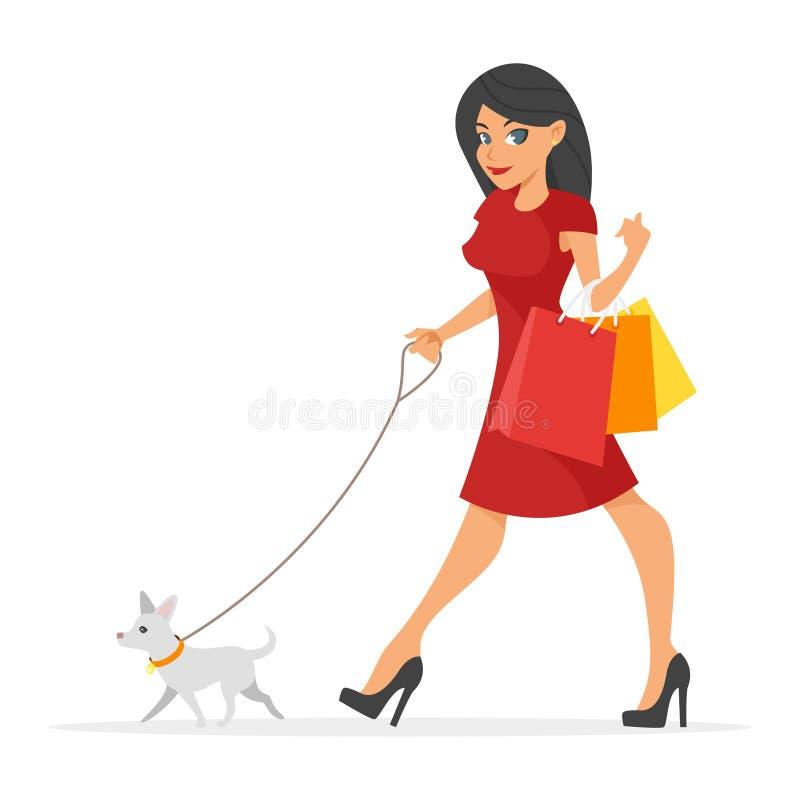 απεικόνιση της όμορφης γυναίκας με το σκυλί της απεικόνιση αποθεμάτων