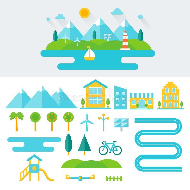 Απεικόνιση τοπίων βουνών και σύνολο στοιχείων Φιλικός προς το περιβάλλον τρόπος ζωής και βιώσιμη έννοια διαβίωσης Επίπεδο σχέδιο ελεύθερη απεικόνιση δικαιώματος