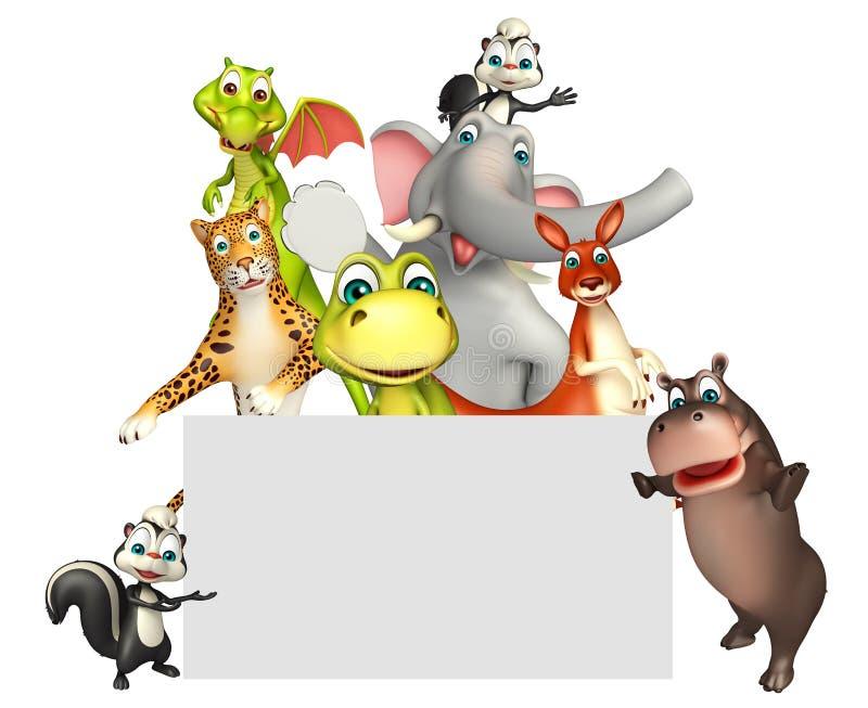 απεικόνιση του άγριου ζώου με το λευκό πίνακα ελεύθερη απεικόνιση δικαιώματος