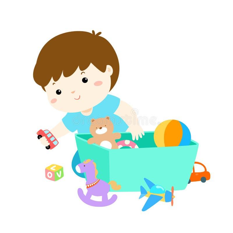 Απεικόνιση του αγοριού παιδιών που αποθηκεύει τα παιχνίδια διανυσματική απεικόνιση