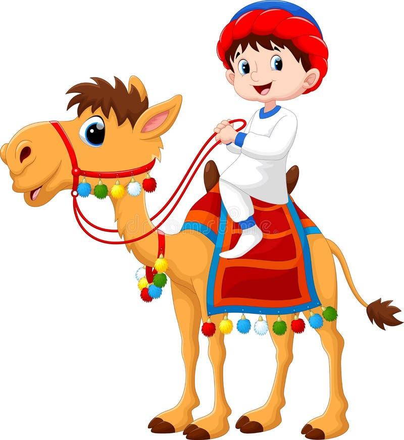 Απεικόνιση του αραβικού αγοριού που οδηγά μια καμήλα ελεύθερη απεικόνιση δικαιώματος