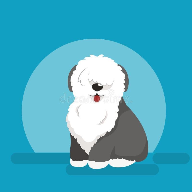 Απεικόνιση του αστείου σκυλιού συνεδρίασης, παλαιό αγγλικό τσοπανόσκυλο διανυσματική απεικόνιση