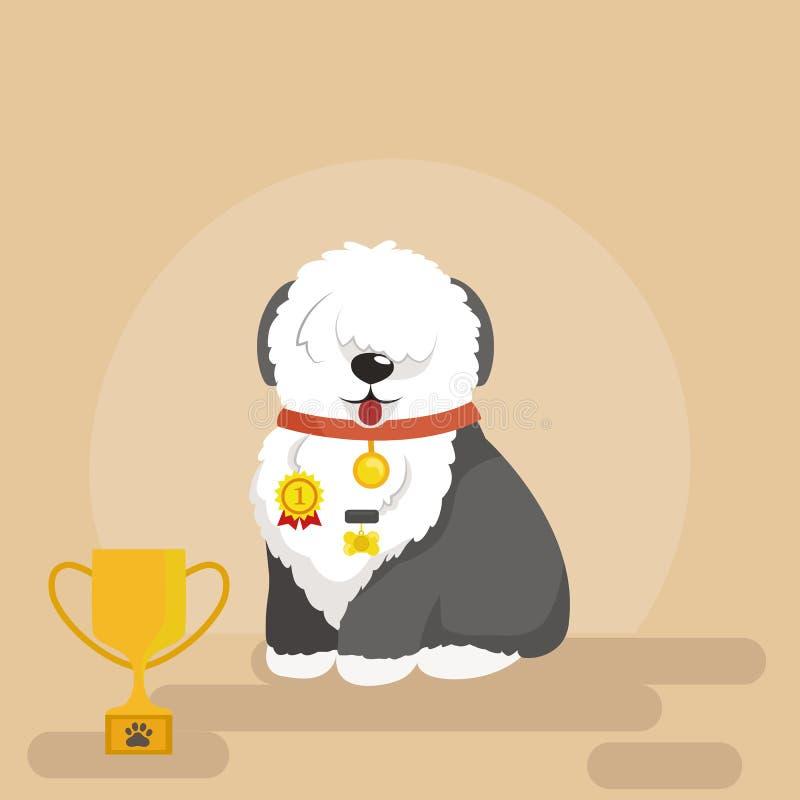 Απεικόνιση του αστείου σκυλιού συνεδρίασης, παλαιό αγγλικό τσοπανόσκυλο ελεύθερη απεικόνιση δικαιώματος