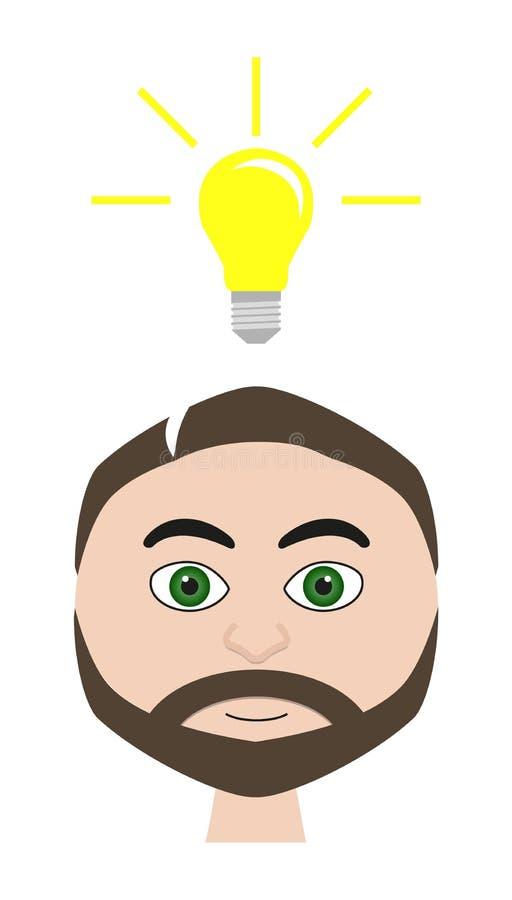 Απεικόνιση του ατόμου με το lightbulb (symbolization ιδέας) ελεύθερη απεικόνιση δικαιώματος