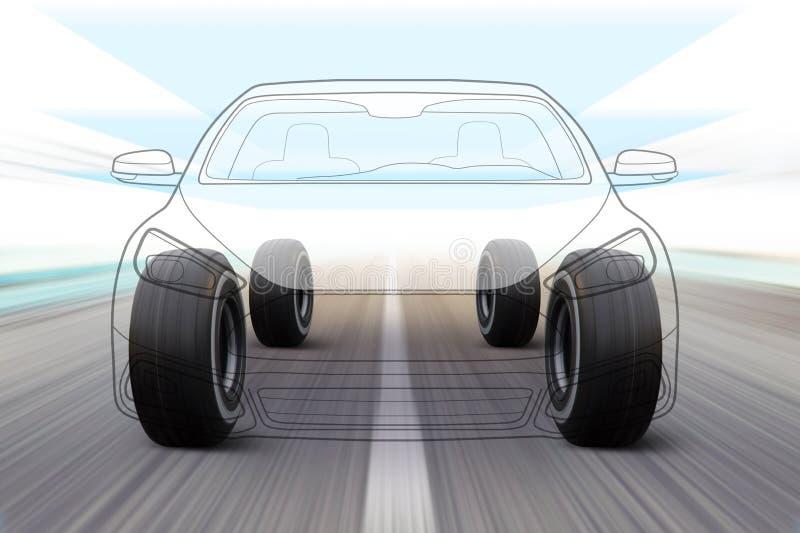 Απεικόνιση του αυτοκινήτου στο δρόμο διανυσματική απεικόνιση