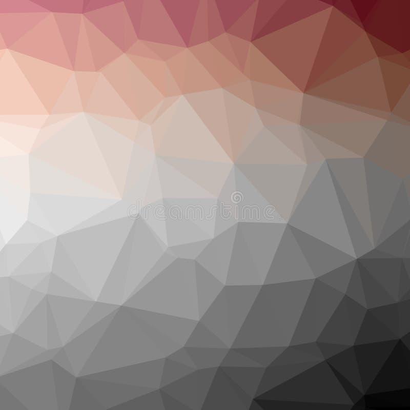Απεικόνιση του αφηρημένου χαμηλού πολυ κόκκινου, μπλε, καφετιού και μαύρου τετραγωνικού υποβάθρου ελεύθερη απεικόνιση δικαιώματος