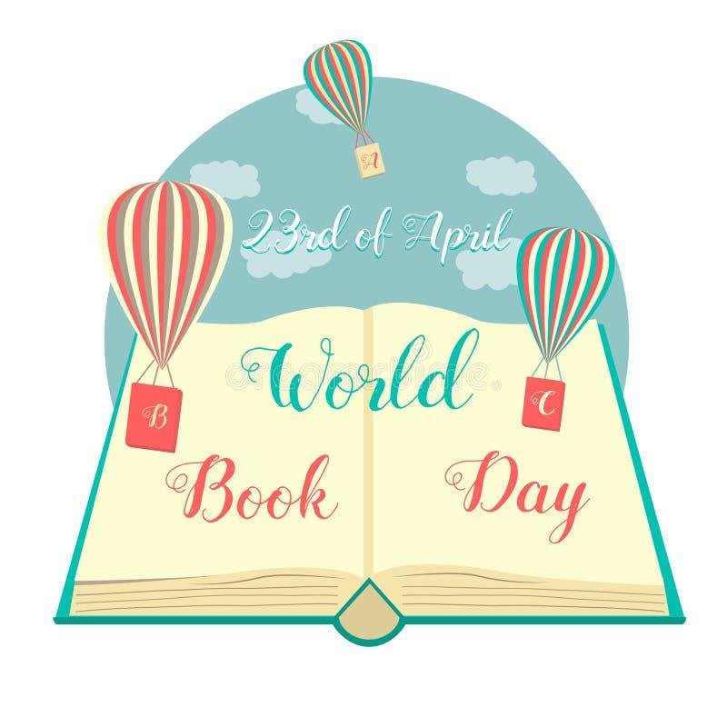 Απεικόνιση του βιβλίου με τα φωτεινά μπαλόνια για την ημέρα παγκόσμιου Bookd διανυσματική απεικόνιση