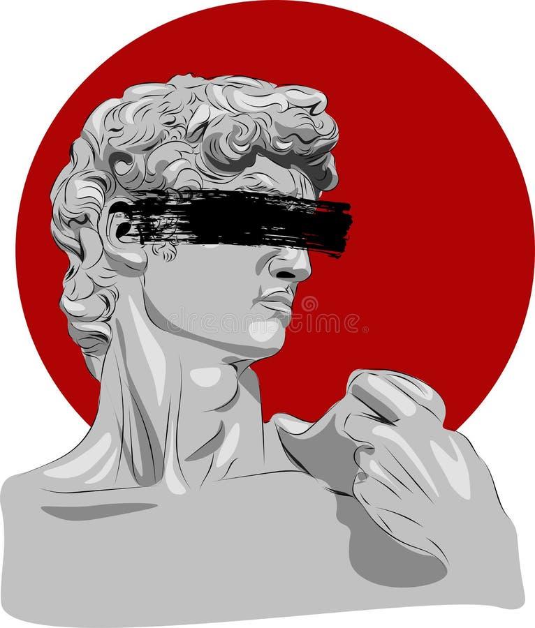 Απεικόνιση του γλυπτού Δαβίδ michelangelo διανυσματική απεικόνιση