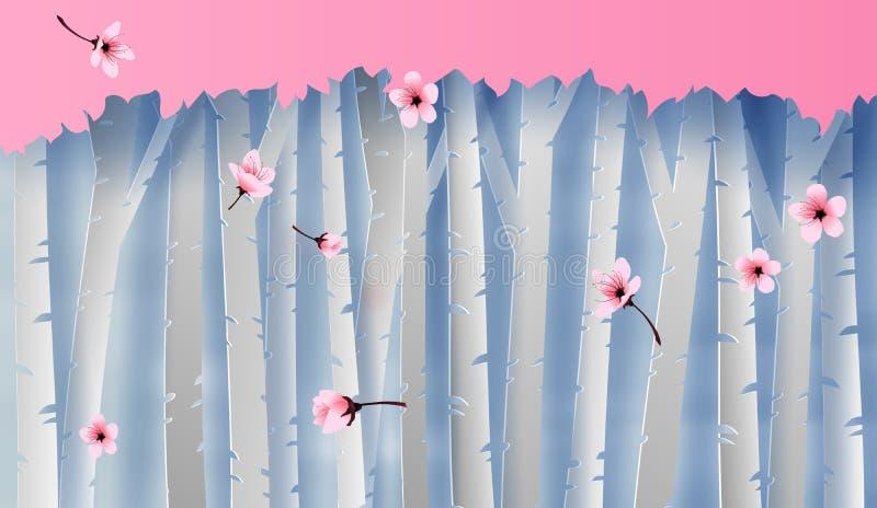 Απεικόνιση του δασικού άποψης δέντρου κερασιών σκηνής ζωηρόχρωμου ανθίζοντας γραφικός για τη θέση λουλουδιών sakura για το υπόβαθ διανυσματική απεικόνιση