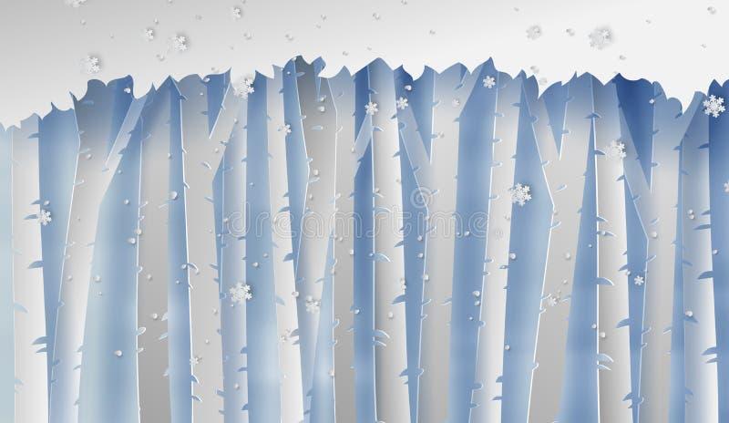 Απεικόνιση του δασικού τοπίου με snowflakes Χιόνι και δασικό υπόβαθρο σκιαγραφιών εποχής χειμώνα Δημιουργική περικοπή εγγράφου κα ελεύθερη απεικόνιση δικαιώματος