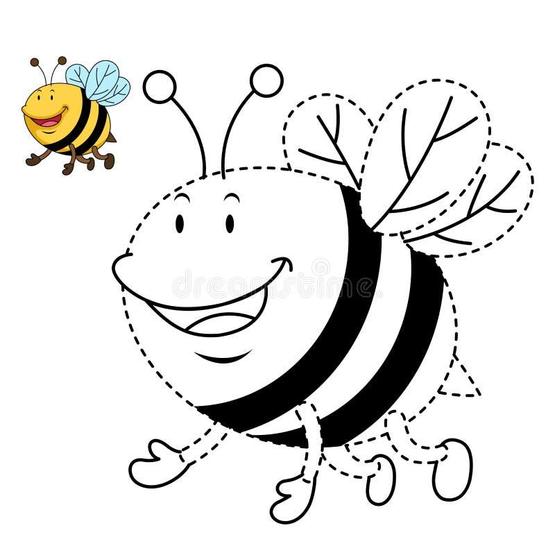 Απεικόνιση του εκπαιδευτικού παιχνιδιού για τα παιδιά και την βιβλίο-μέλισσα χρωματισμού ελεύθερη απεικόνιση δικαιώματος