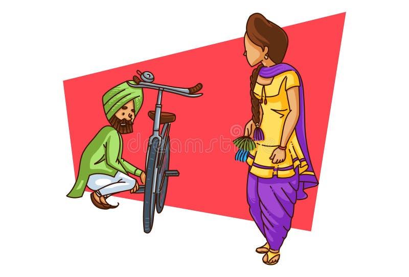 Απεικόνιση του ζεύγους Punjabi κινούμενων σχεδίων ελεύθερη απεικόνιση δικαιώματος