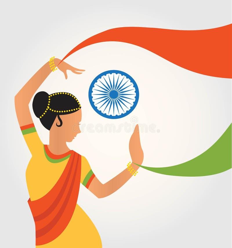 Απεικόνιση του ζωηρόχρωμου πολιτισμού Ινδία με το διαφορετικό κλασσικό χορό μορφής ελεύθερη απεικόνιση δικαιώματος