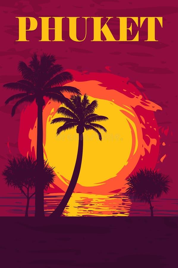 απεικόνιση του ηλιοβασιλέματος πέρα από τον ωκεανό στο νησί Phuket διανυσματική απεικόνιση