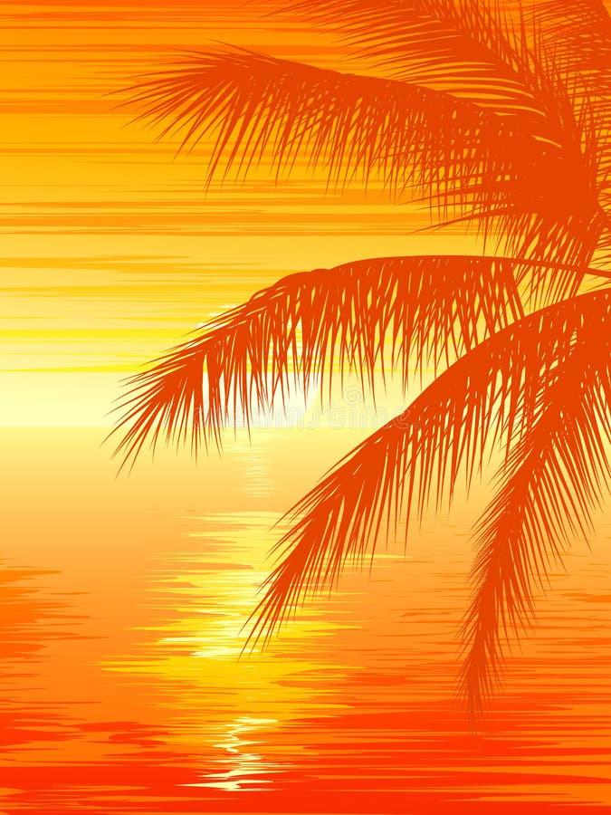 Απεικόνιση του ηλιοβασιλέματος στον ωκεανό με το φοίνικα απεικόνιση αποθεμάτων