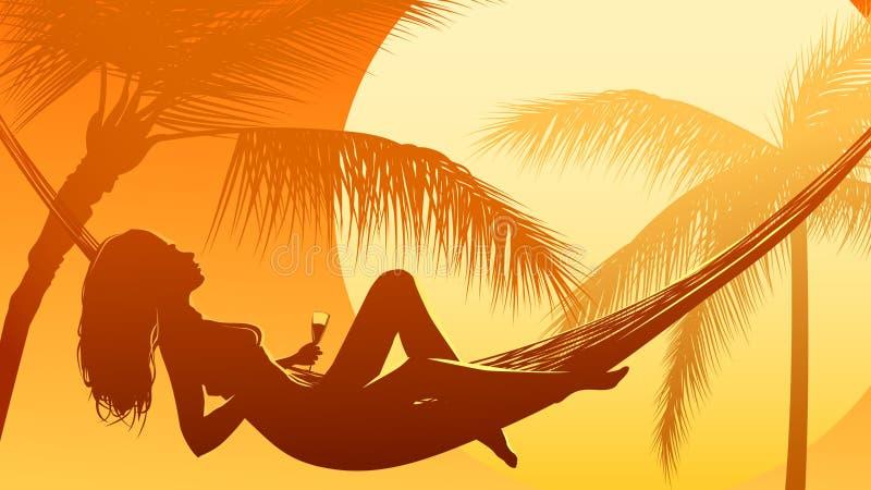 Απεικόνιση του ηλιοβασιλέματος στον ωκεανό με το φοίνικα ελεύθερη απεικόνιση δικαιώματος