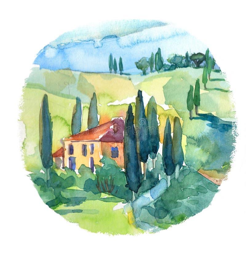 Απεικόνιση του θερινού τοπίου στην Τοσκάνη, Ιταλία διανυσματική απεικόνιση