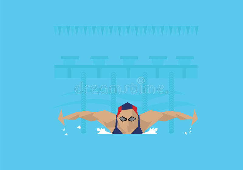 Απεικόνιση του θηλυκού κολυμβητή που ανταγωνίζεται στο γεγονός πεταλούδων ελεύθερη απεικόνιση δικαιώματος