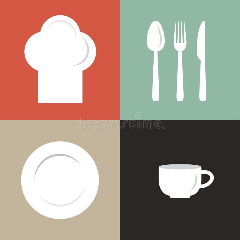 απεικόνιση του καπέλου, του πιάτου, του φλυτζανιού και flatware του αρχιμάγειρα ελεύθερη απεικόνιση δικαιώματος