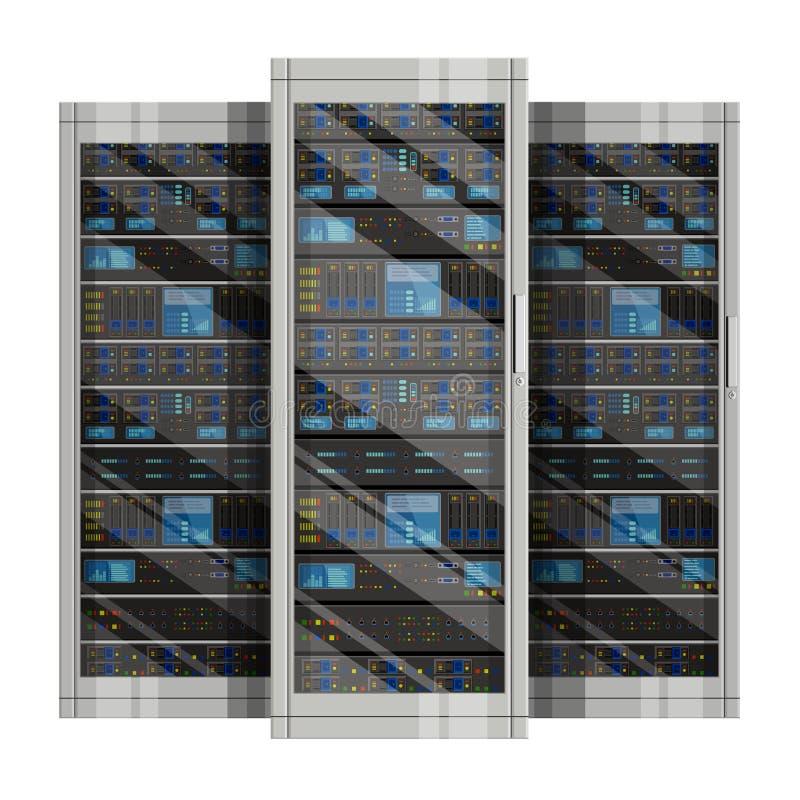 Απεικόνιση του κεντρικού υπολογιστή δικτύων με το επίπεδο σχέδιο διανυσματική απεικόνιση