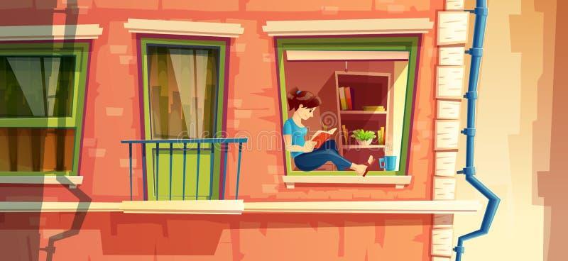 απεικόνιση του κοριτσιού που διαβάζει το βιβλίο στο παράθυρο του multistorey διαμερίσματος, χτίζοντας την εξωτερική έννοια, εικον απεικόνιση αποθεμάτων