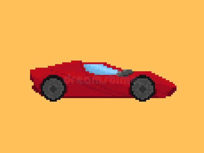 Απεικόνιση του κόκκινου σπορ αυτοκίνητο στο ύφος τέχνης εικονοκυττάρου στοκ εικόνα με δικαίωμα ελεύθερης χρήσης