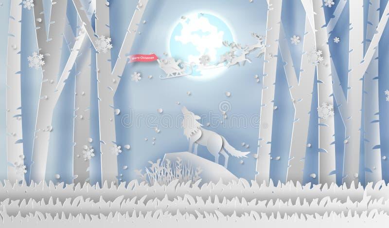 Απεικόνιση του λύκου τέχνης εγγράφου που ουρλιάζει στο forestHappy νέες έτος χειμερινής εποχής βουνών τη νύχτα και την ημέρα Χαρο διανυσματική απεικόνιση