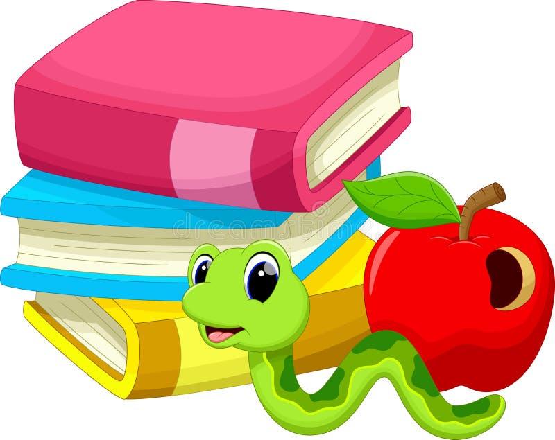 Απεικόνιση του μήλου και του σκουληκιού βιβλίων διανυσματική απεικόνιση