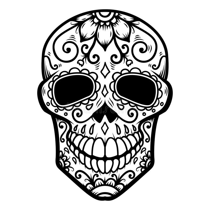 Απεικόνιση του μεξικάνικου κρανίου ζάχαρης ημέρα νεκρή Dia de Los Muertos Στοιχείο σχεδίου για το λογότυπο, ετικέτα, έμβλημα, σημ απεικόνιση αποθεμάτων