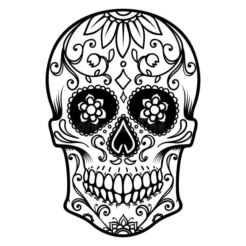 Απεικόνιση του μεξικάνικου κρανίου ζάχαρης ημέρα νεκρή Dia de Los Muertos Στοιχείο σχεδίου για το λογότυπο, ετικέτα, έμβλημα, σημ διανυσματική απεικόνιση
