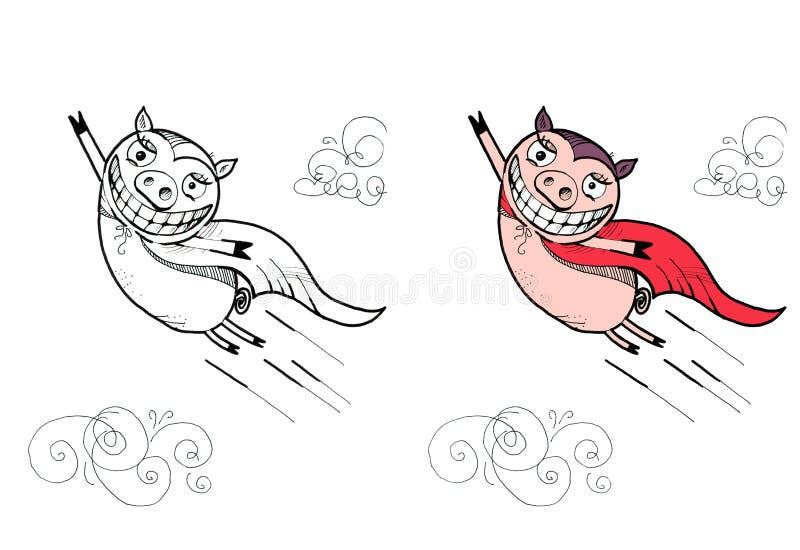 Απεικόνιση του πετώντας χοίρου Αστείο superhero διανυσματική απεικόνιση