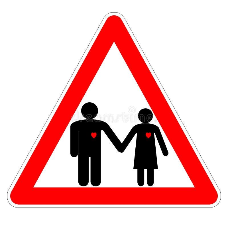 Απεικόνιση του προσοχή σημαδιών «, εραστής! » την ημέρα του βαλεντίνου, οι αριθμοί των χεριών ανδρών και μιας εκμετάλλευσης γυ ελεύθερη απεικόνιση δικαιώματος
