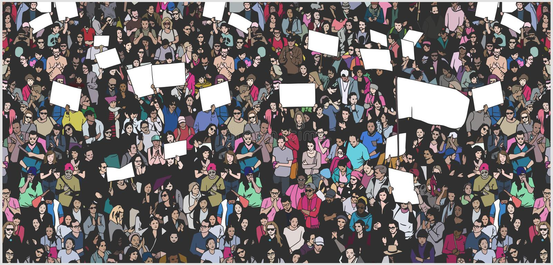 Απεικόνιση του πλήθους που διαμαρτύρεται για τα ανθρώπινα δικαιώματα με τα κενές σημάδια και τη σημαία απεικόνιση αποθεμάτων