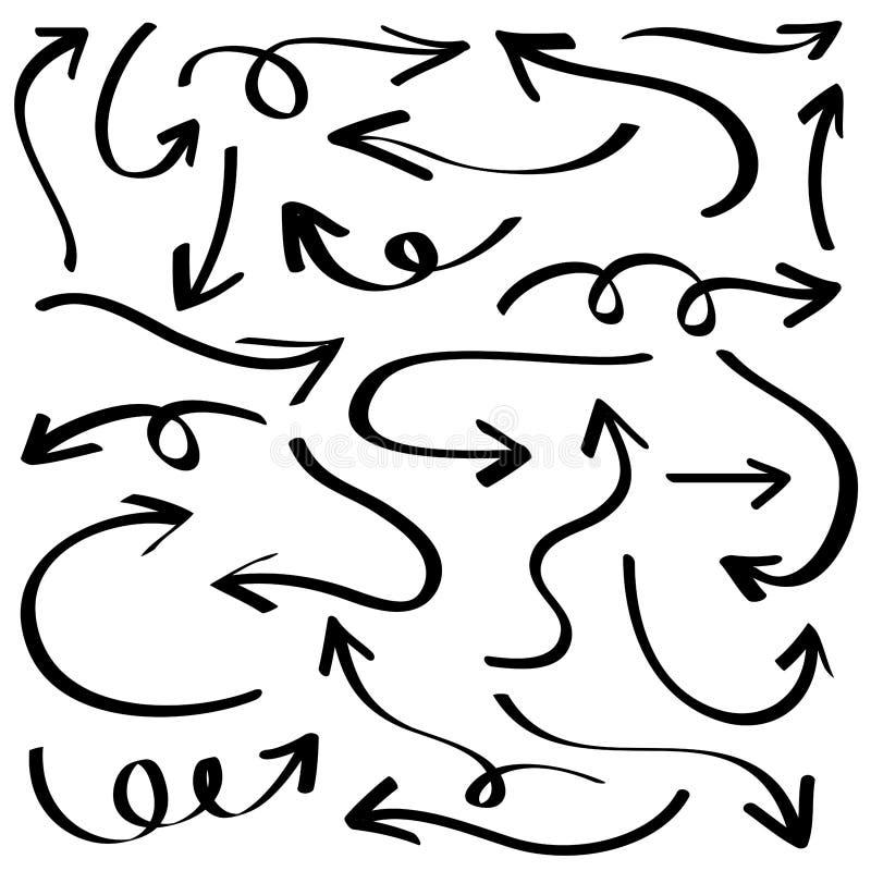 Απεικόνιση του σκίτσου Grunge χειροποίητη Διανυσματικό σύνολο βελών απεικόνιση αποθεμάτων
